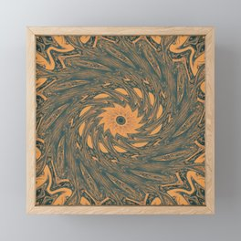 Vintage swirl in orange and blue Framed Mini Art Print