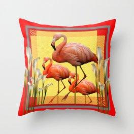 SURREAL FLAMINGOS CALLA LILIES RED ART Throw Pillow