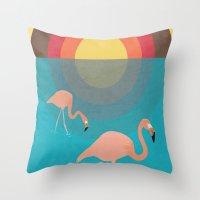 flamingos Throw Pillows featuring Flamingos by Simon Alenius