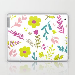 Colorfull flowers on white Laptop & iPad Skin