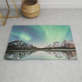 northern lights, mountains, snow, reflection, lofoten islands, norway Rug