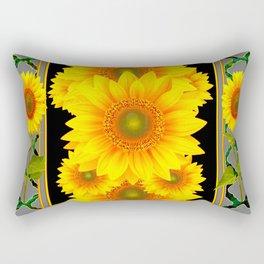 DECO BLACK-GREY KANSAS SUNFLOWERS ART Rectangular Pillow
