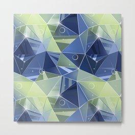 Polygonal pattern.Blue, green background. Metal Print