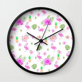 Modern tropical pink watercolor spring flowers cute flamingo Wall Clock