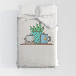 Hot tea with plant and hot coffee Duvet Cover