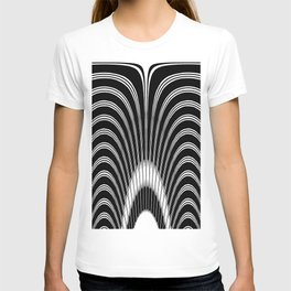 Geometric Black and White Abstract Skeletal Pattern T-shirt