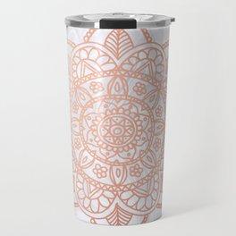 Rose Gold Mandala on White Marble Travel Mug