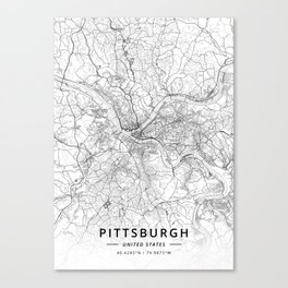 Pittsburgh, United States - Light Map Canvas Print