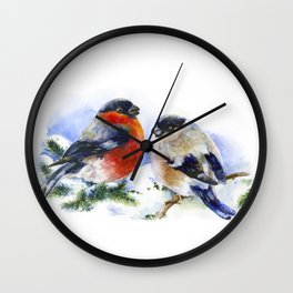 Bullfinches in winter time. Christmas Watercolor Art Wall Clock