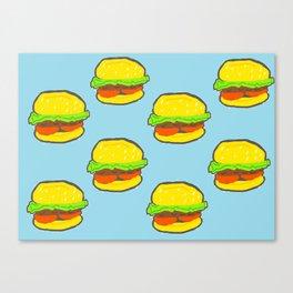 Blue water Burger Pattern Canvas Print