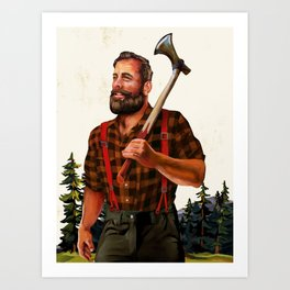 Rugged Lumberjack Illustration Art Print