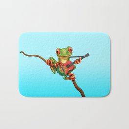 Tree Frog Playing Acoustic Guitar with Flag of Portugal Bath Mat