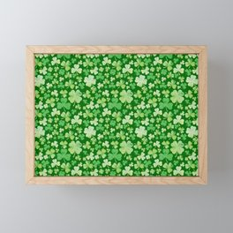 Lucky Green Watercolour Shamrock Pattern Framed Mini Art Print