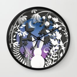 Moonlight Bunny Star Gazer Wall Clock