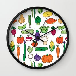 Cute Smiling Happy Veggies on white background Wall Clock