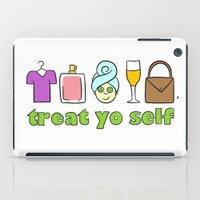 treat yo self iPad Cases featuring Treat Yo Self Doodles by CozyReverie
