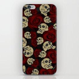 Red Roses & Skulls Grey Black Floral Gothic iPhone Skin