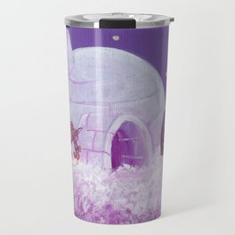 Penguins Fishing and Making Music On Their Floating Igloo Home in the Stars Travel Mug
