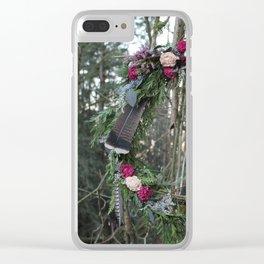 Woodland Flower Wreath Clear iPhone Case