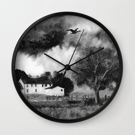 Farmhouse Watercolor (Black and White) Wall Clock