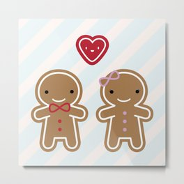 Cookie Cute Gingerbread Couple Metal Print