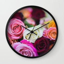 Colorful Roses Wall Clock