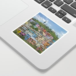 Colorful Houses on a Hill Sticker