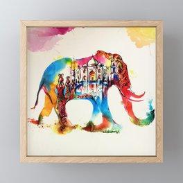 Colorful India Elephant Vintage Travel Love Watercolor Framed Mini Art Print