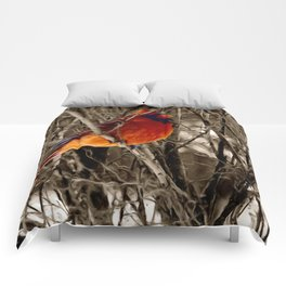 Cardinal Red Bird Winter Rustic Country Art A336 Comforters