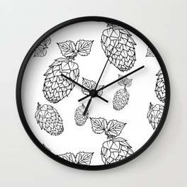 Hops pattern with leafs Wall Clock