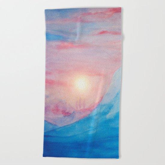 Pastel vibes watercolor 02 Beach Towel