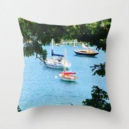 Peaking Sailboats Throw Pillow