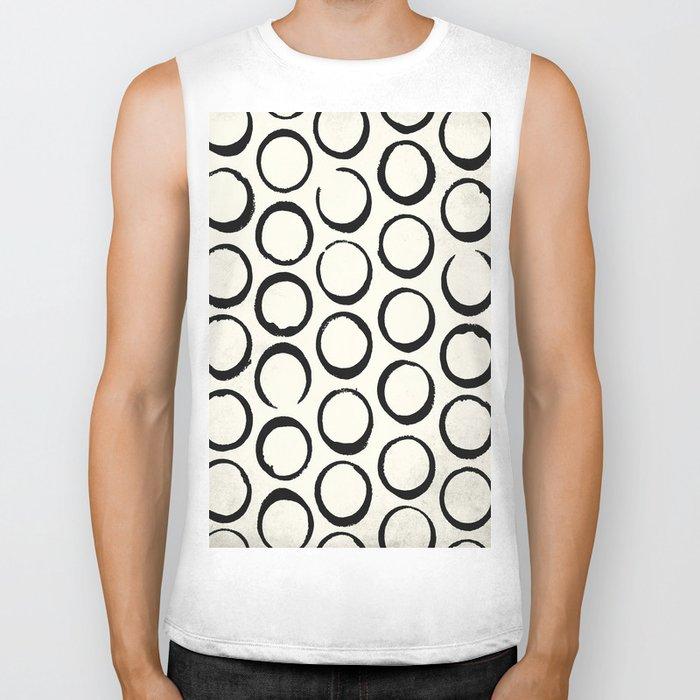 Polka Dots Circles Tribal Black and White Biker Tank