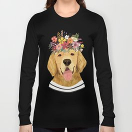 Golden Retriever Dog with Floral Crown Art Print – Funny Decoration Gift – Cute Room Decor – Poster Long Sleeve T-shirt