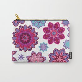 Flower retro pattern. Purple and blue flowers on white background. Carry-All Pouch