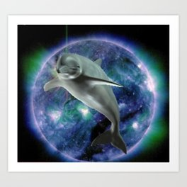 Space dolphin Art Print