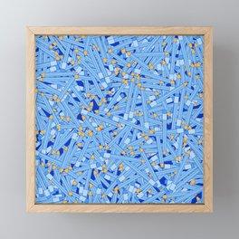 Bedtime Stories BLUE / Cartoon pencil pattern Framed Mini Art Print