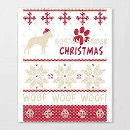 Boston Terrier christmas gift t-shirt for dog lovers Canvas Print