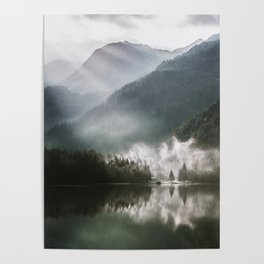 Mountains fog Poster