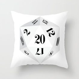 White 20-Sided Dice Throw Pillow