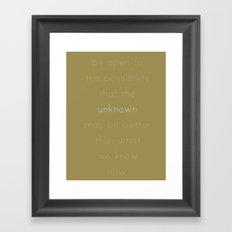 be open Framed Art Print