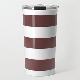 Roast coffee - solid color - white stripes pattern Travel Mug