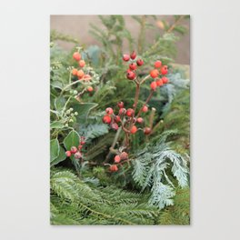 Winter decoration in Rothenburg Canvas Print