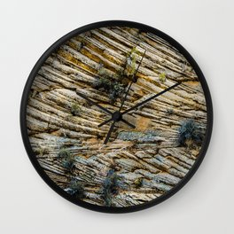 LAYERS OF TIME IN ANCIENT SANDSTONE Wall Clock