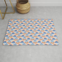 Modern Botanical Flower Pattern Stripes in Classic Blues and Muted Oranges Rug