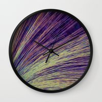 fireworks Wall Clocks featuring Fireworks by Françoise Reina