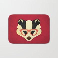 Hipster Badger: Red Bath Mat