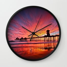 Sunset Huntington Beach Pier CA   Wall Clock