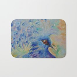 BLUE BIRD Impressionistic painting Pastel colors Bath Mat