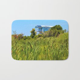 Beach House With Cattails Bath Mat